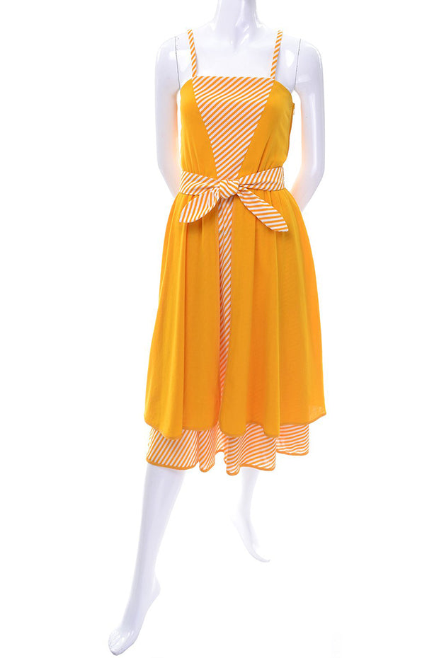 Vintage Lanvin Dress Dead Stock in Orange Yellow Marigold Cotton W Tag