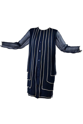 1960's layered chiffon vintage navy dress
