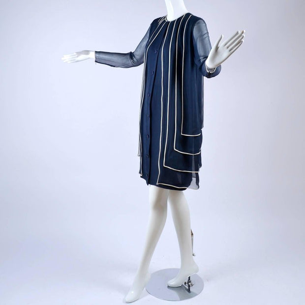 Designer Vintage Dress in Layered Navy Blue Silk Chiffon w/ White Trim