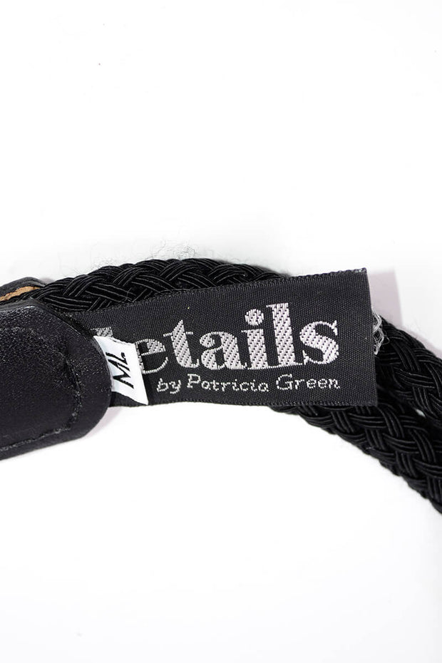 1990s Details By Patricia Green Black Cord Belt w/ Large Gold Toggle
