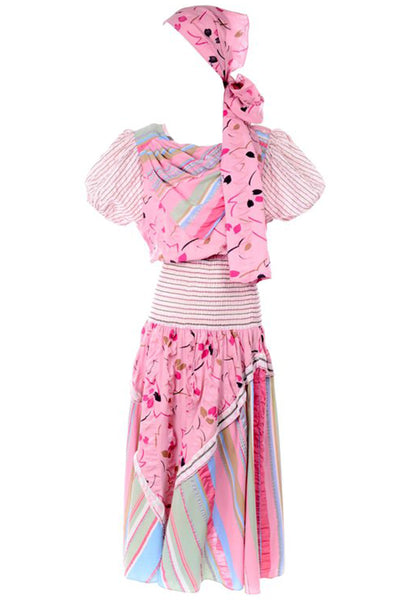 1980s Diane Freis Pink Pastel Seersucker Cotton Dress & Scarf w/ Floral & Stripes