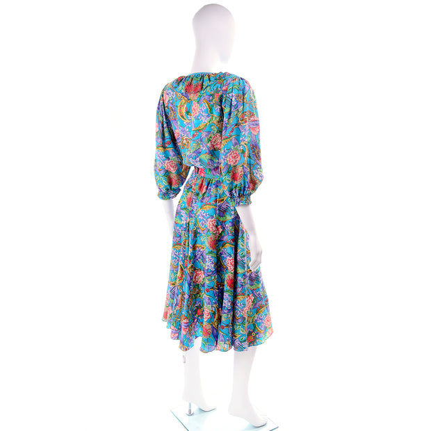 1980s Diane Freis Floral Blue Silk Dress w/ Tassels & Puff Sleeves One Size