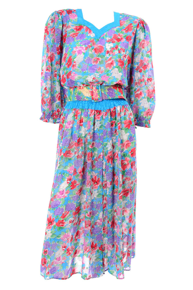 1980s Diane Freis Blue Floral Day Dress