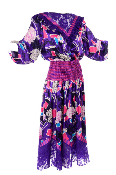 Diane Freis Original 1980s Purple Abstract Floral Dress w Lace Trim & Ruffle