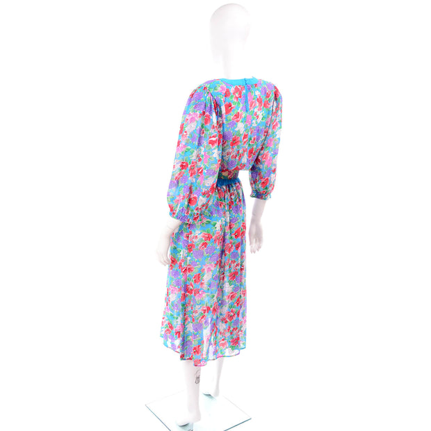 1980s Diane Freis Turquoise Floral Print Dress w/ Belt One Size