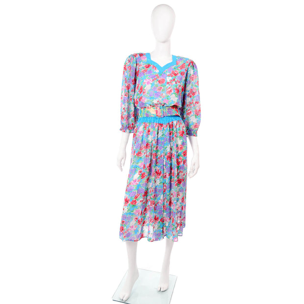 1980s Diane Freis Blue Red Floral Vintage Day Dress
