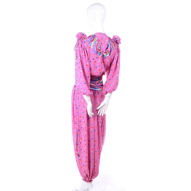 1980's Diane Freis Pink Balloon Leg Jumpsuit in Abstract Print w/ Puff Sleeves