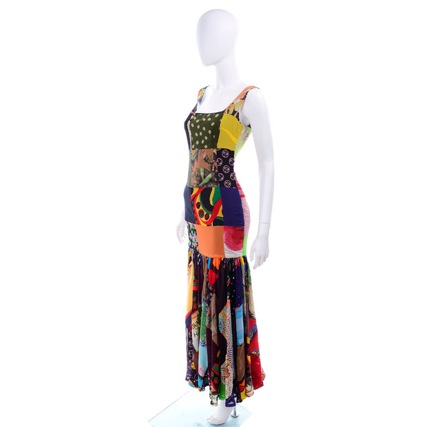 1993 Dolce & Gabbana Vintage Spring Patchwork Print Silk Dress 70s Inspired