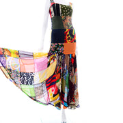 1993 Dolce & Gabbana Vintage Spring Patchwork Colorful Print Silk Dress