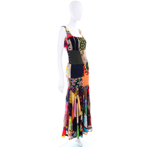70s Inspired 1993 Dolce & Gabbana Vintage Spring Patchwork Print Silk Dress