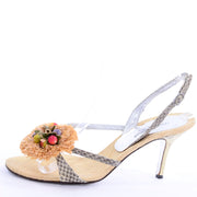 Dolce & Gabbana Shoes Raffia & Fruit Snakeskin Slingback Sandals Heels 37.5