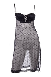 Dolce & Gabbana Black Dot Lace Sheer Babydoll Slip w/ Lace Up Front