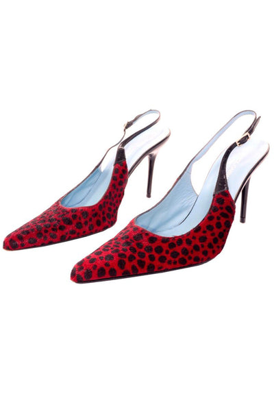 Dolce & Gabbana Animal Print Shoes in Red & Black Spotted Fur Slingback Heels 38.5