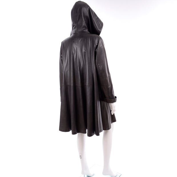1990s Donna Karan Charcoal Gray Leather Swing Coat with Hood