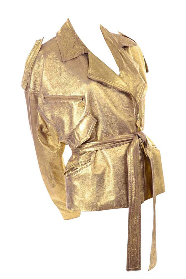 1990s Donna Karan Gold Leather Jacket