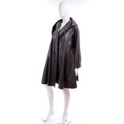 Donna Karan Hooded Gray Leather Swing Coat