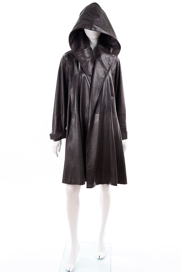 Vintage Grey leather swing coat with hood