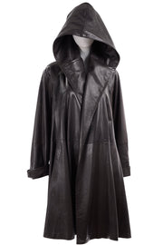 Donna Karan Hooded Leather Swing Coat