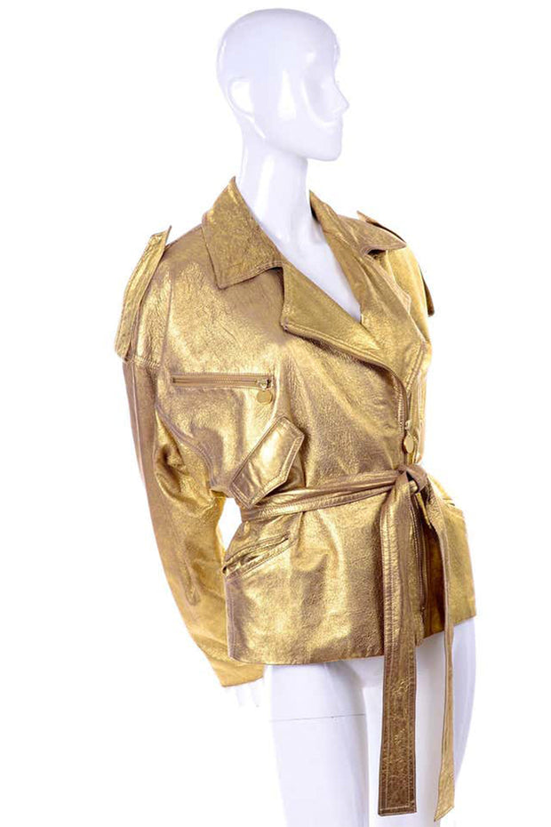 1990s Donna Karan gold leather oversized belted jacket