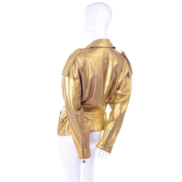 1990s Donna Karan Gold Leather Jacket w/ Belt 10