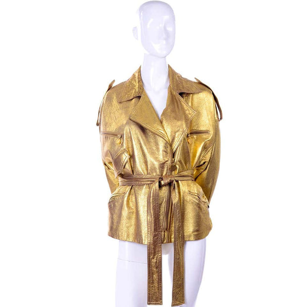 Vintage Donna Karan gold distressed leather jacket