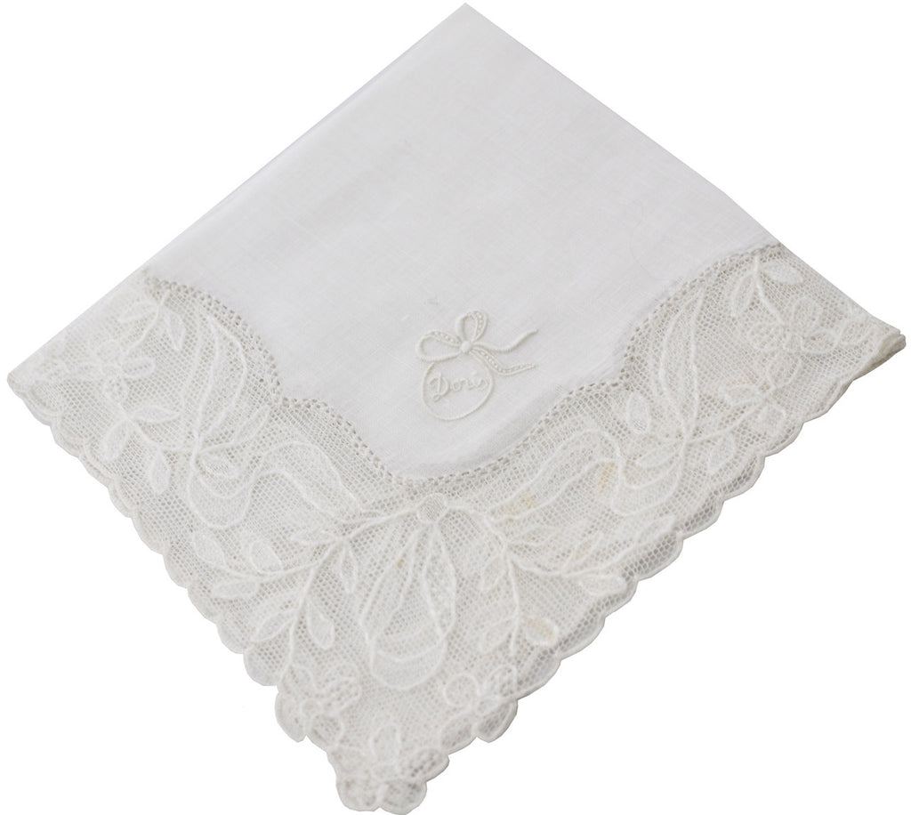 linen and lace white Doris monogrammed handkerchief