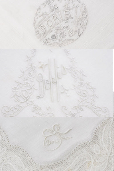 4 Doris Linen and Lace Vintage White Monogrammed Handkerchiefs - Dressing Vintage