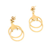 Unique Double Hoop Gold Tone Drop Earrings