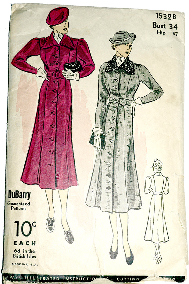 DuBarry 1532b 1930s Sewing Pattern for Coats