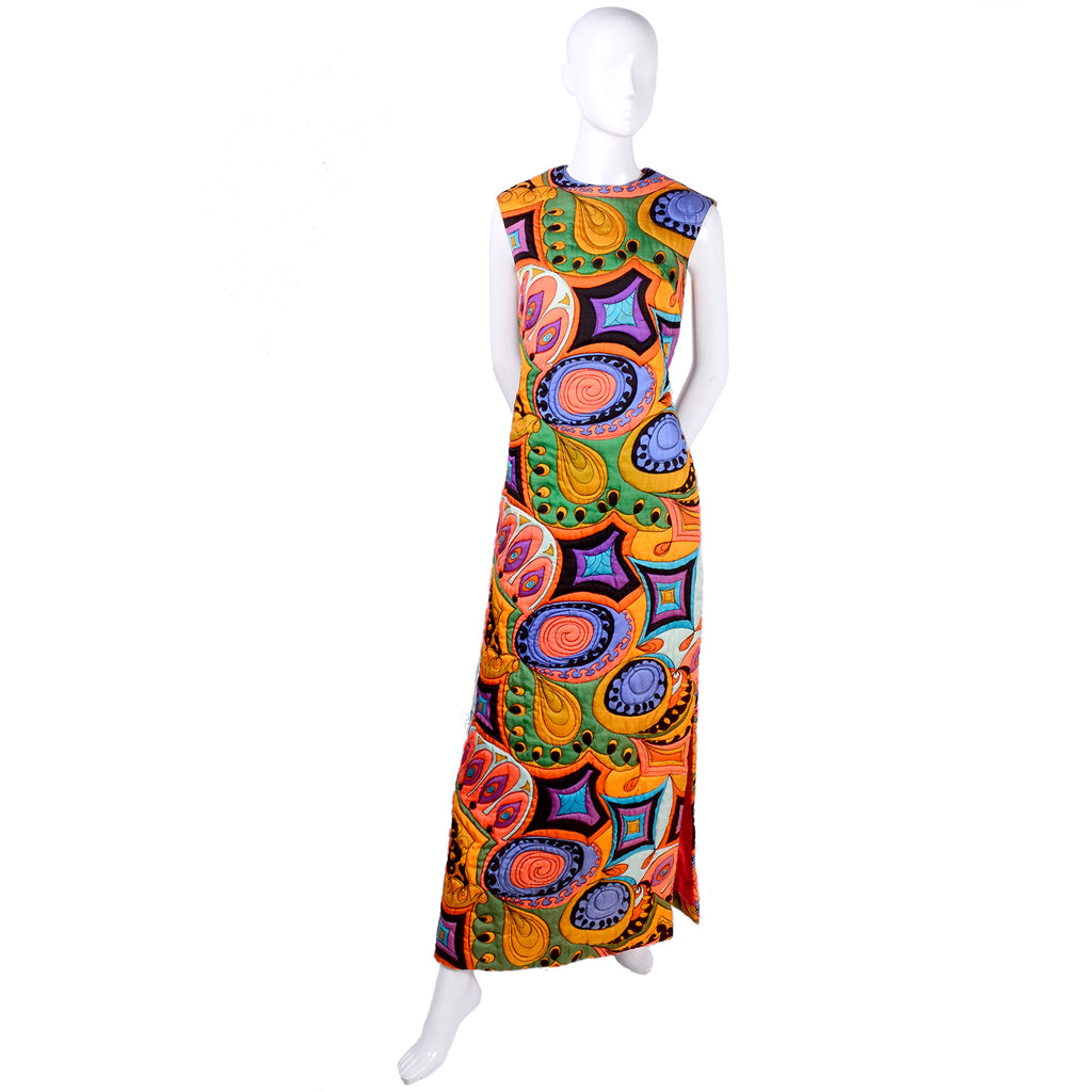 Dynasty Hong Kong Psychedelic Brightly Colored Maxi Slit Dress