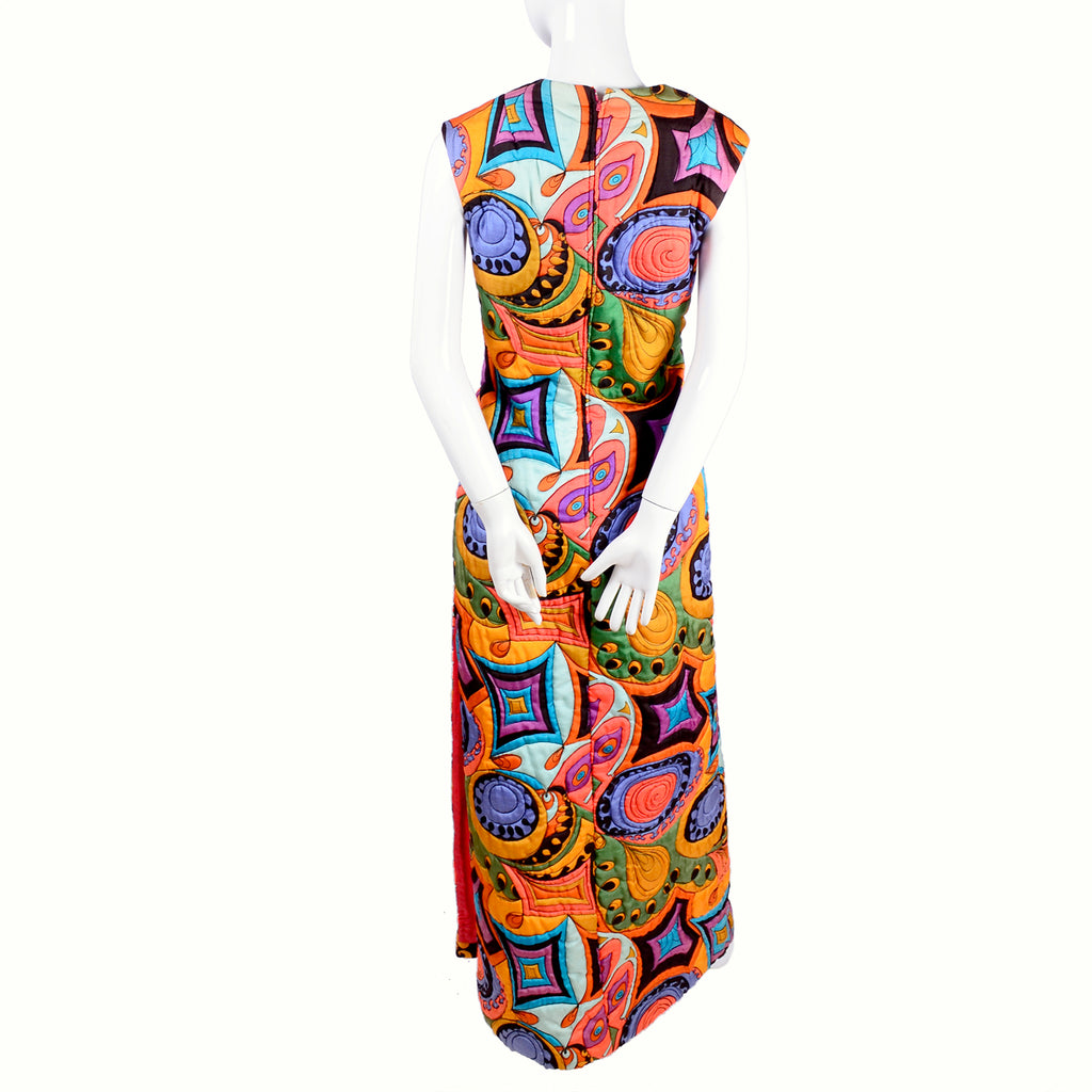 Psychedelic Early 1970's Dynasty Hong Kong Colorful quilted Maxi Dress