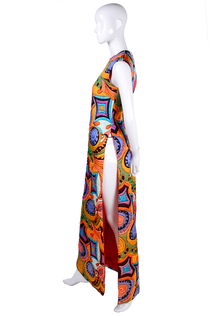 1970s quilted Dynasty maxi dress with slit