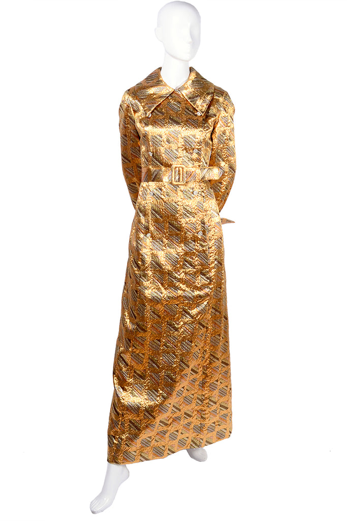 1960s Dynasty Gold Dress with Collar