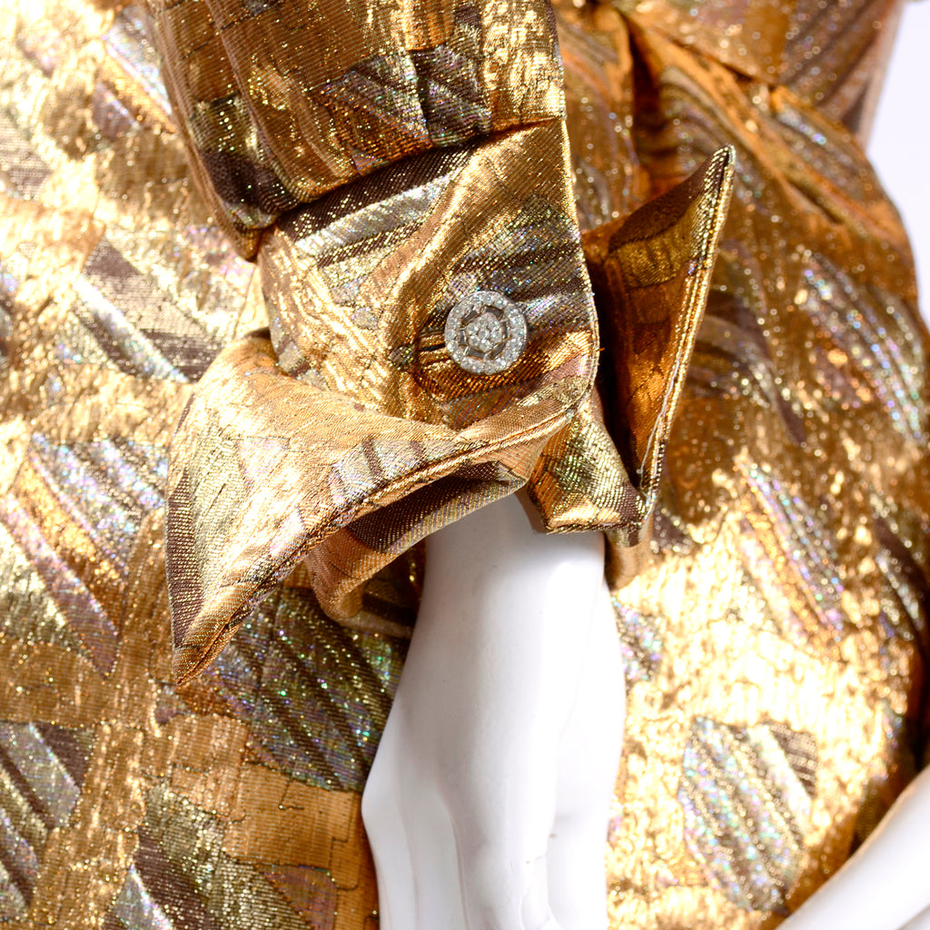 Gold Metallic Long Sleeve Dynasty Dress with Rhinestone Buttons
