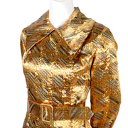 Collared Vintage Dynasty Metallic Dress with Belt
