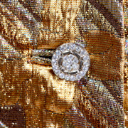 Rhinestone Buttons on Vintage Dynasty Gold Long Dress