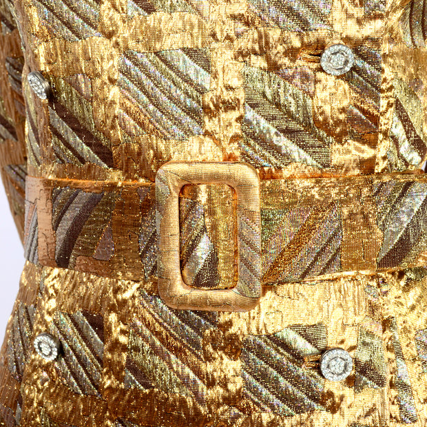 1970's Belted Metallic Gold Dress with Long Sleeves