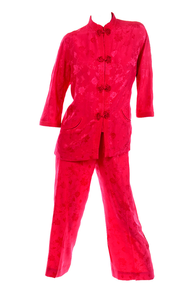 1960s Dynasty Red Silk Floral Pajamas