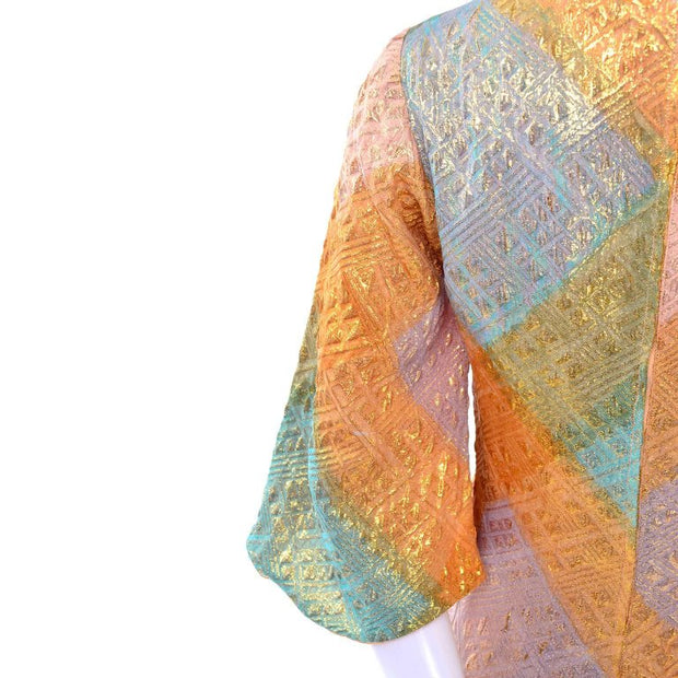 1960's multi colored gold caftan for women