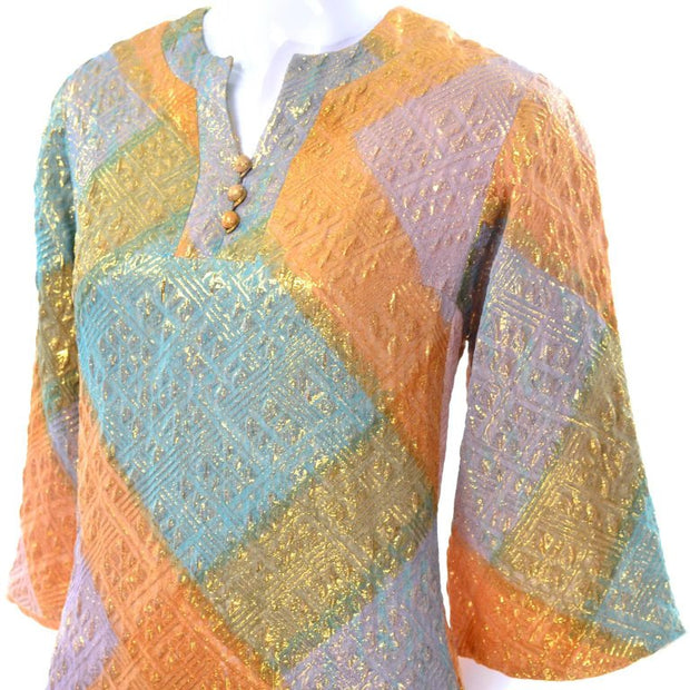 Vintage long gold caftan with bell sleeves