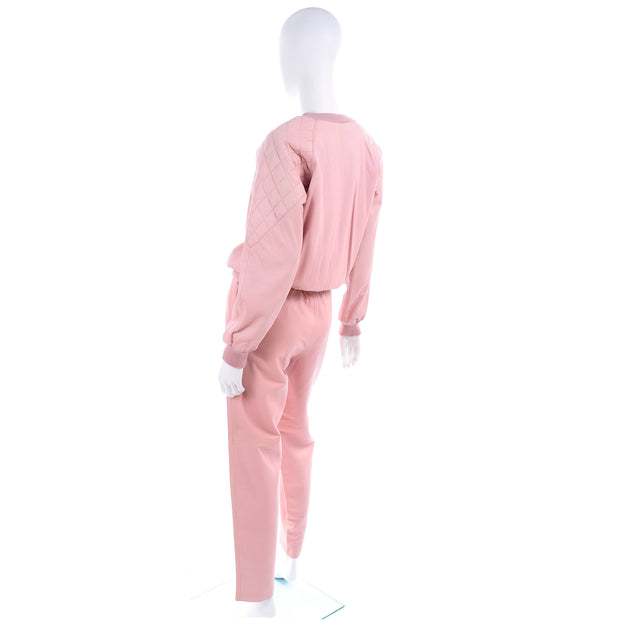 1980s Athleisure Pink Quilted Leather Vintage Tracksuit Sweatshirt Top & Pants
