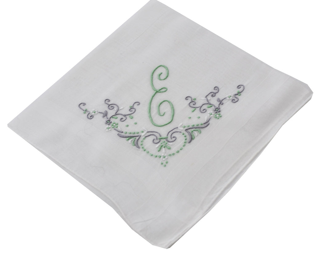 Vintage white linen handkerchief with green E monogram
