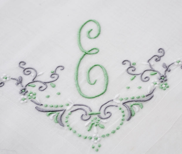 White linen handkerchief with Green E monogram and scroll work - Dressing Vintage