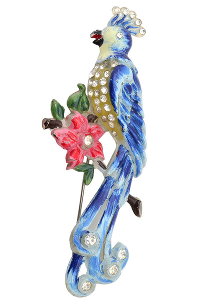 Lucite Vintage Bird Brooch Pin Peacock