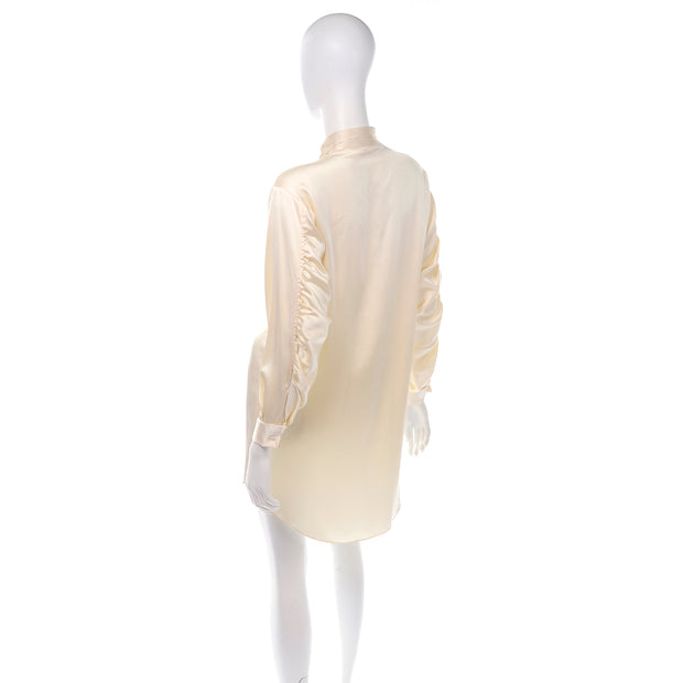 1980's Cream Silk Tuxedo Style Blouse w/ Ruched Sleeves