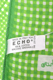 1980s Echo Green & White Checked Large Cotton Scarf
