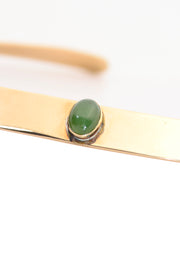 Ed Levin Bronze Vintage Choker Necklace w/ Green Gem