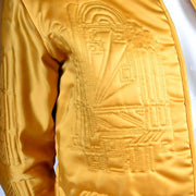 1980s Quilted Gold Silk Vintage Jacket w/ Art Deco Inspired Designs Small