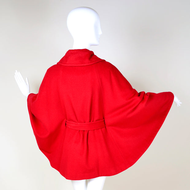 1990s Ellen Tracy Red Wool Circle Cape