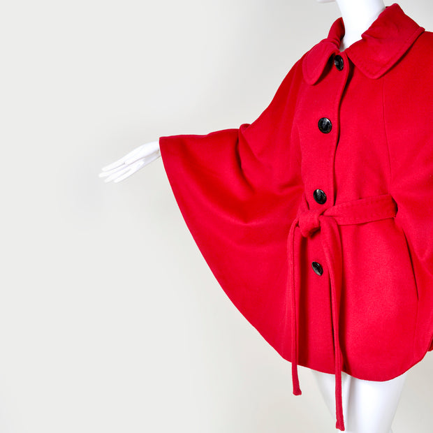 Small or Medium Red Wool Vintage Short Cape